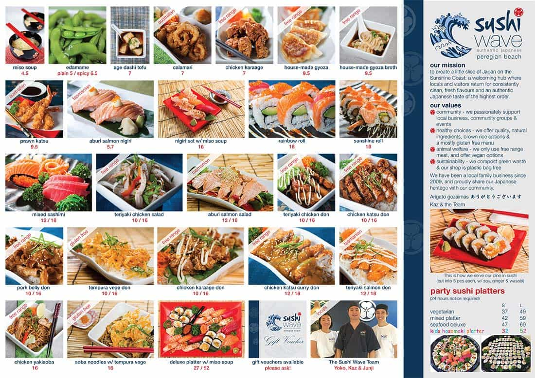 Sushi Wave Laminate Menu
